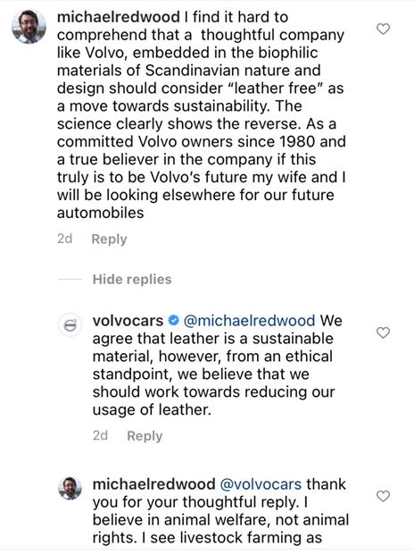 Volvo's response on Instagram